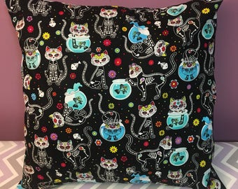 Day of the Dead Skeleton Sugar Skull Cats 18x18 Decorative Pillow