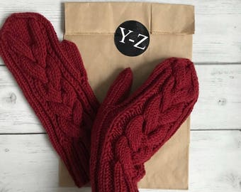 Knitted cabled mittens, knitted mittens/handmade