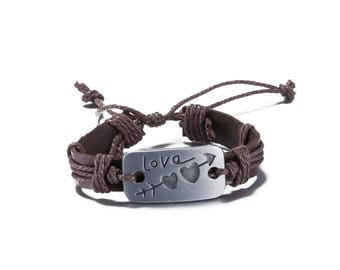 Leather bracelet * Love with Amor arrow Brown