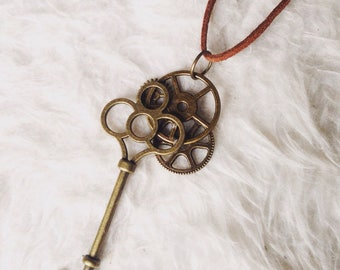 Steampunk gears and key necklace