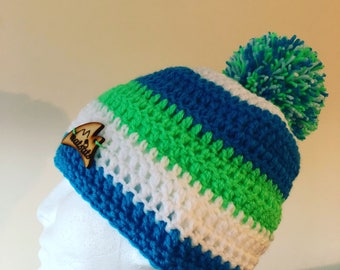 Natsats blue white and green beanie