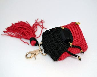 """Keychain backpack """"Red"""", Key chain for bag, Amigurumi Charm, backpack keyring, decoration for bags,knitted keychain, keychain for girls,"""