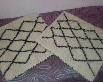 2 pillow kilim handwoven moroccan cushion cover berber handmade vintage 100%wool