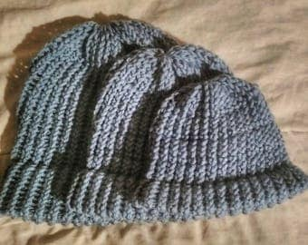 Blue Loom Knit Hat | Handmade for Babies/Toddlers | Hand 'n' Loom Custom Knit Hats - Beanies Crafted Using Lion Brand Yarn