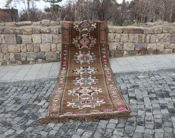 Free Shipping Unique Vintage Runner Area Rug 4.4 x 12.4 ft. Very Rare Geometrical Vintage Runner Area Rug Organic Wool Rug Brown Rug MB150