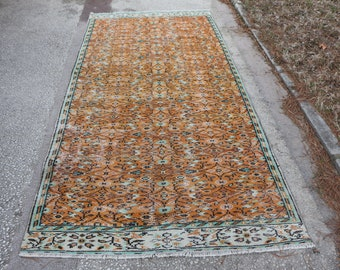 Orange color area rug Free Shipping 4.5 x 9.2 ft. handknotted oushak rug bohemian area rug low pile natural rug turkish floor rug MB407