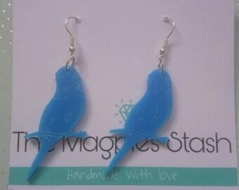 Blue parrot acrylic earrings