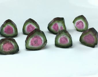 31 Carates Very Beautiful and Amazing Faceted Watermelon Color 8 Pieces Tourmaline Slice From Afghanistan.