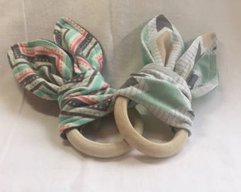 Bunny Teether - Mint Gray Coral - Chevron - Flight - Wooden Teething Ring