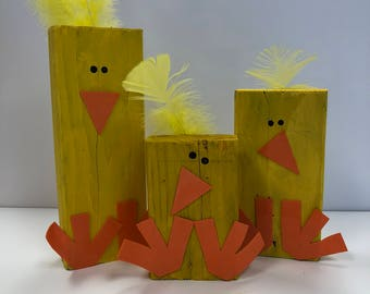 Rustic yellow chicks, Easter decor, Spring decor, Recycled 2x4's (set of 3)