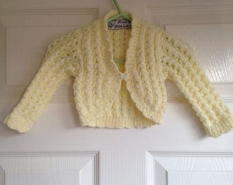Long sleeve bolero for baby girl and matching beret age approx 3 - 6 months