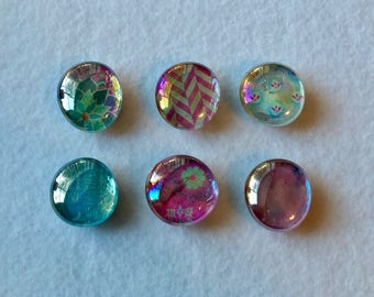 Pink and Blue Bright/ Colorful Magnet Set- 6 Large