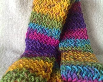 Unique and Vibrant Rainbow Hand Knitted Scarf