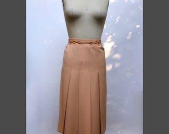 vintage Celine peachy-pleated '60s wool skirt