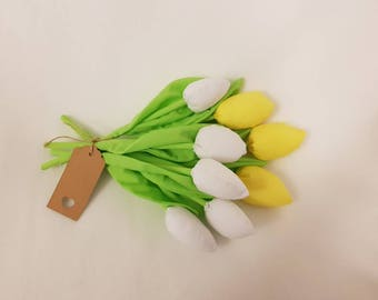 Yellow flowers/ white flowers/ spring decor / Easter / fabric tulips bouquet / flowers for mom / birthday gift