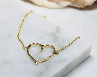 14k gold filled heart bracelet
