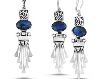 Sterling Silver Hand Made Set with Abalon:Earrings and Pendant