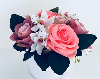 Artificial Flower arrangement in a round box bouquet