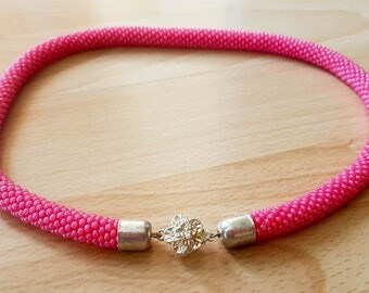 Pink Beaded Rope Necklace