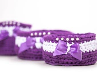 basket, Set of purple baskets
