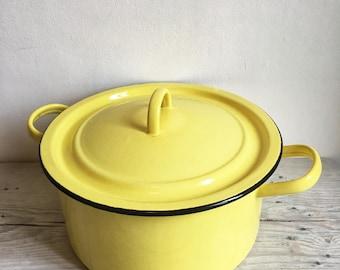 Yellow enameled pot 1950