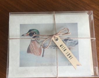 Hand-Sketched Wood Duck Folded Notecard Set/Blessing
