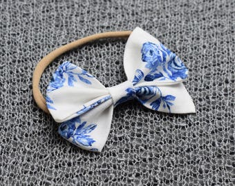 Royal Blue Flowers Baby Girl Fabric Bow