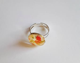 Adjustable silver ring, cabochon floral pattern