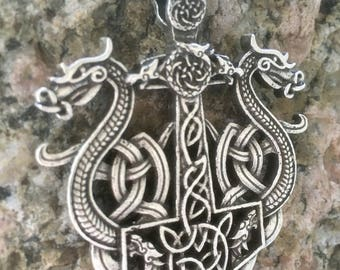 Antique Silver Viking Norse Pendant Necklace - Thor's Hammer In Viking Longship