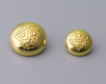 Metal Buttons-10pcs 2 Sizes 20/15mm Gold Metal Buttons Vintage Round Shank Button Shirt Button