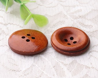 Wooden Buttons 10pcs dark brown wood buttons 25mm 4 holes round buttons fashion buttons sewing buttons