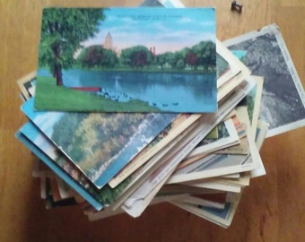Lot of 150 plus Vintage Linen era Postcards Greeting from...states 1930's-40's