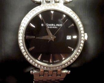 Stuhrling Original Women's 579.02 Soiree Tiara Swiss Quartz Swarovski Black Dial Date Watch