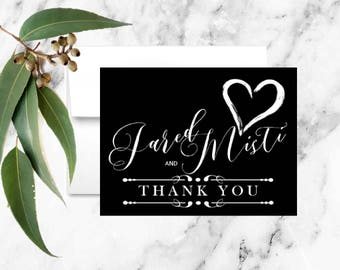 Black and White Heart Thank You Note