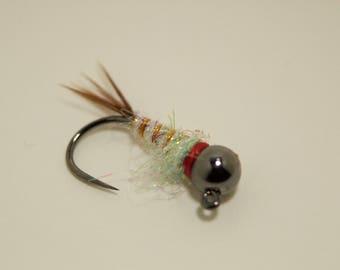 Tungsten Surveyor #12 Jig Hook Euro Nymph set of 6 hand tied flies