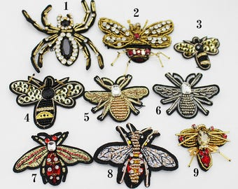 luxury patch,beaded bee patches,sew on embroidery badges,spiders appliques,handmade beaded bee for socks