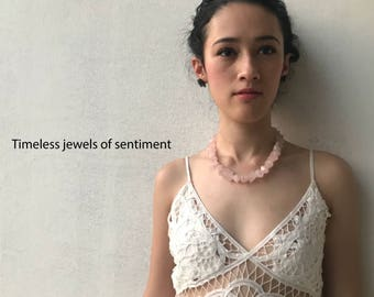 Roxanne Necklace, Authentic Rose Quartz, Fine Karen Silver (98%) Toggle