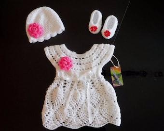 crochet baby dress 0-3 months,crochet baby set