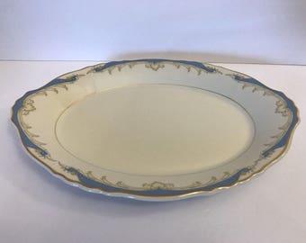 "Vtg CARVEL 14"" Oval Serving Tray Dish Federal Shape Syracuse Blue Gold Bowl"