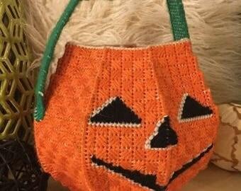 Vintage Halloween Pumpkin Jack-O-Lantern Bucket