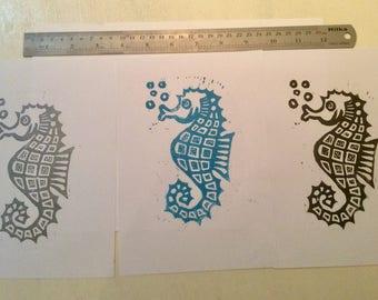 Seahorse Lino print