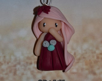 Poppet with polymer clay Burgundy dress, pink hair - Collection bridesmaid jewelry - jewelry handmade
