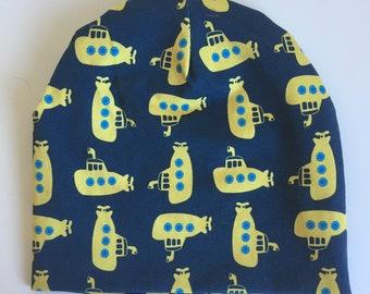 Yellow submarine jersey baby/toddler/child beanie (see description)
