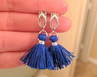 Royal blue Marquis tassle earrings