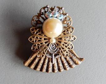 Antique Gold tone Angel Pin w/ crown & Rose