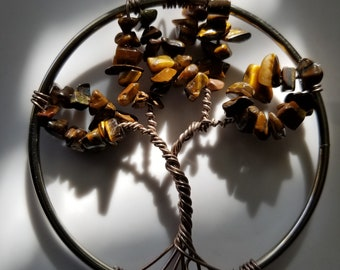 Tiger Eye Tree of Life Circle