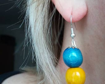 Earrings made of wood,Earrings from a natural tree,wooden earrings,handmade, wooden jewelry,a gift for a woman,blue-yellow earrings
