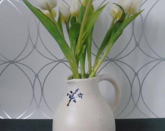 Jar ceramique-blanc-white-bleu-blue-pot in flower-pot lait-scandinave-hygge-lagom-cadeau-gift-jug-ceramic pot-ceramic jug