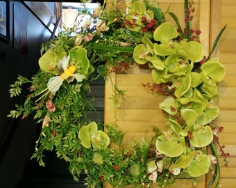 Green Orchid Grapevine Wreath