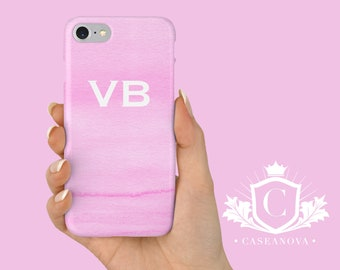 iPhone 7 case, iPhone 8 cases, Pink Phone Case, Personalized Custom Initials, iPhone SE, 5S, 6, X, Samsung S9, S8 Cases - CN-111
